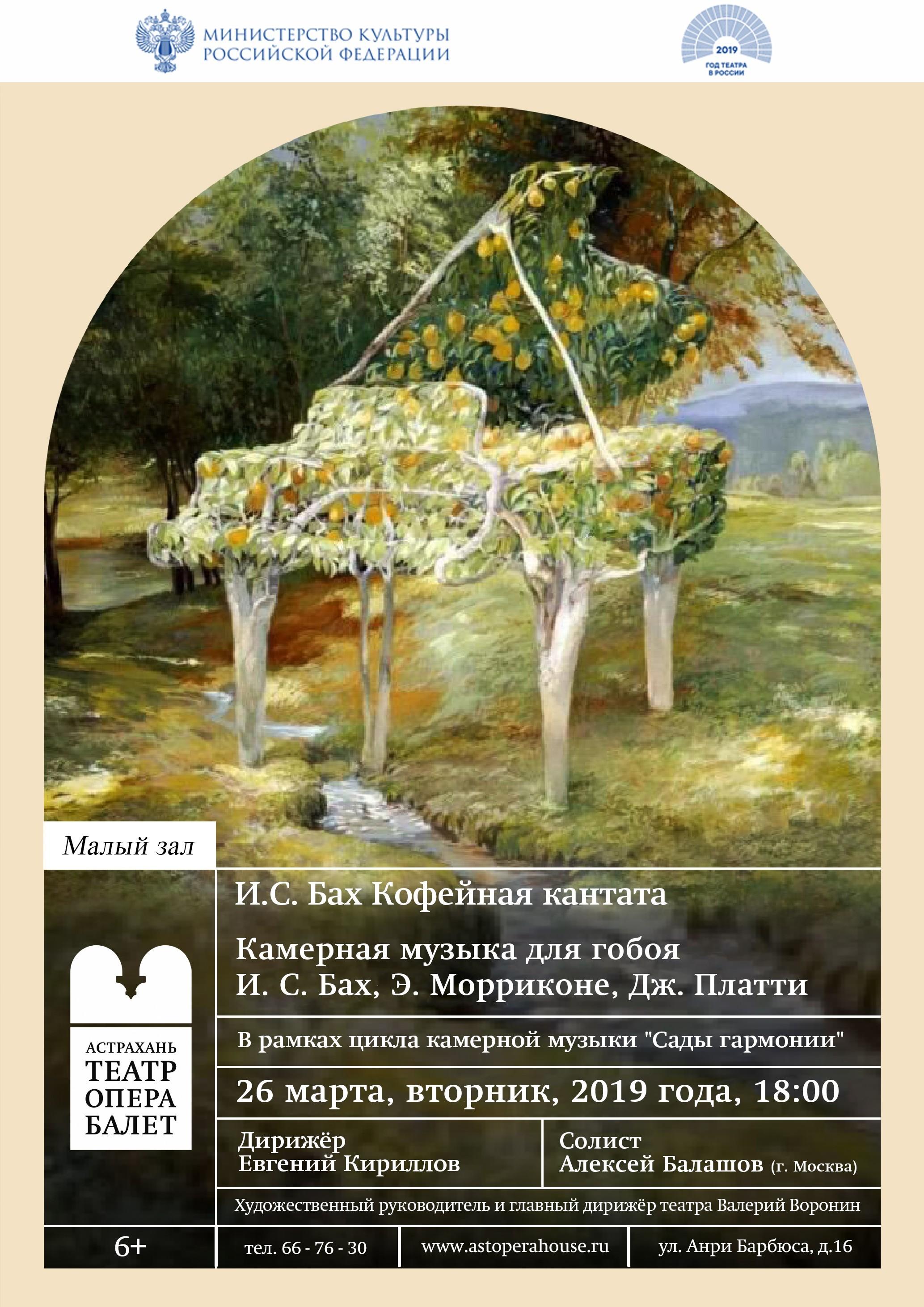 Астраханский театр Оперы и Балета продолжает цикл концертов камерной музыки «Сады гармонии»